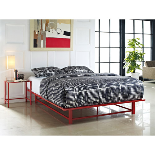 Parsons Queen Metal Ledge Platform Bed, Red