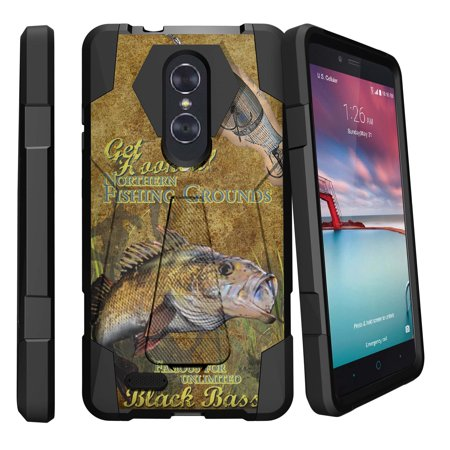 ZTE Zmax Pro Z981 (MetroPCS) Dual-Layer Case, [Shock Fusion] Heavy Duty Rugged Impact Protector Case + Built-In Kickstand by Miniturtle® - Big Game
