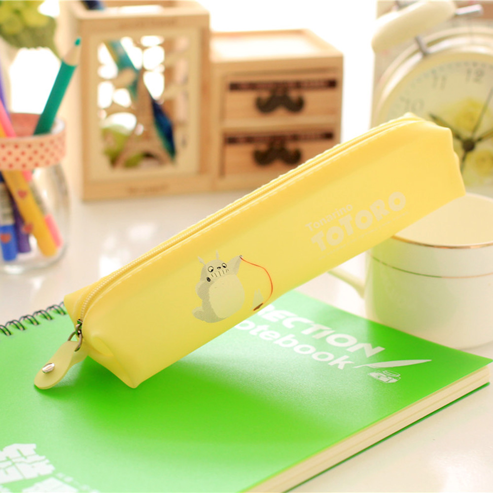 Cute Jelly Soft Waterproof Pen Pencil Case Zipper Stationery Bag Lovely Cat Pattern for Girls School Students