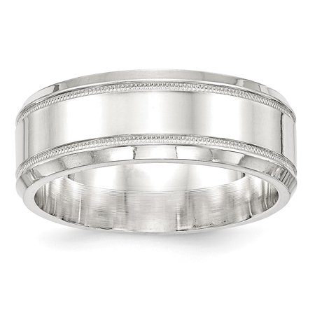 SS 8mm Polished Fancy Band Size 13 in Sterling Silver (Championship Rings Size 13)