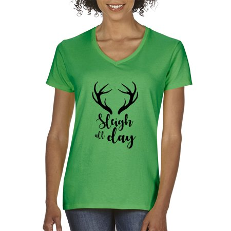 02673740 New Way 998 - Women's V-Neck T-Shirt Sleigh All Day Christmas Reindeer  Antlers Small Kelly Green