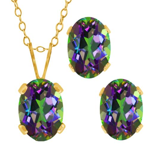 2.05 Ct Oval Green Mystic Topaz Gold Plated Silver Pendant Earrings Set 18""