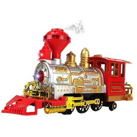 Classical Series Battery Operated Children's Bump and Go Toy Train w/ Lights, Sounds, & Real Train Smoke - Train Whistle Sounds
