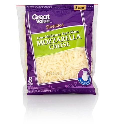 Great Value Shredded Low-Moisture Part-Skim Mozzarella Cheese, 32 oz