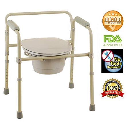 3 in 1 Commode, Folding Bedside Commode Chair, Toilet Seat with Commode Bucket and Splash Guard, Deluxe Bedside and Bathroom Steel Folding Frame Commode, Gray bY HEALTHLINE Commode Splash Shield