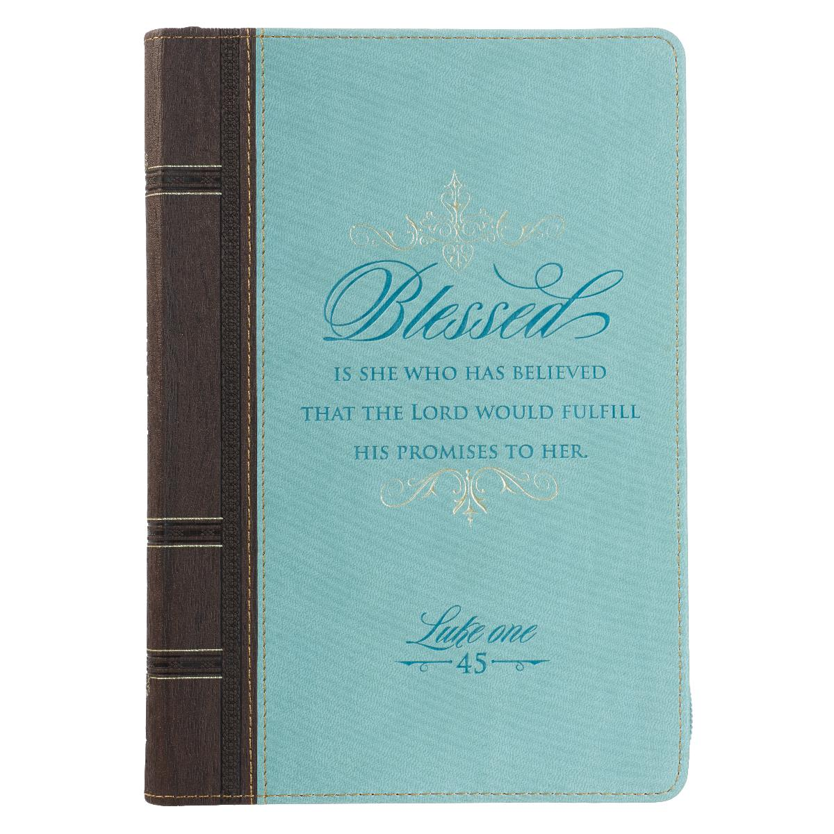 Journal With Zipper Closure - Blessed Is She, Blue