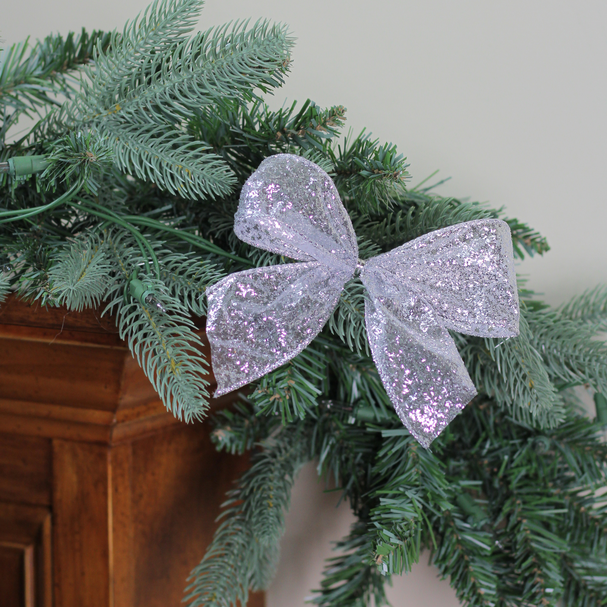 """Pack of 6 Sparkling Sheer Silver Glitter Drenched 2 Loop Christmas Bow Decorations 5"""""""