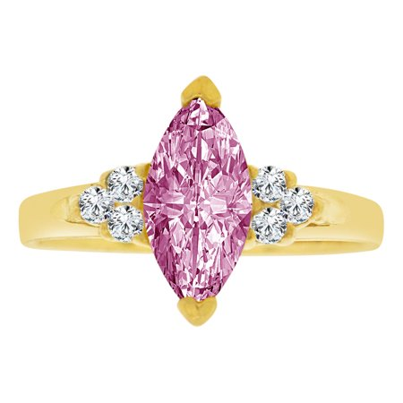 Simple Marquise - 14k Yellow Gold, Simple Classic Ring Created Color Marquise CZ Synthetic Jun Birthstones