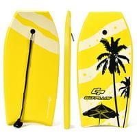 Goplus 41'' Lightweight Super Bodyboard Surfing W/Leash IXPE Deck EPS Core Boarding