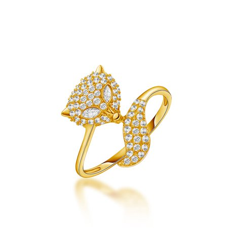 Fox Cluster .40 Carat Round Brilliant Real Diamond Stackable Ring in 14k Yellow Gold