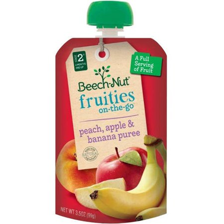 Beech-Nut Fruities on the Go Stage 2 Peach, Apple & Banana Puree Baby Food, 3.5 oz, (Pack of - Apricot Puree