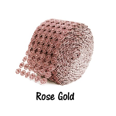 Rose Gold 6 Row Flower Diamond Rhinestone Ribbon Trim Mesh Wrap 10 Yards (Mesh Trim)