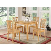 East West Furniture OXAV5-OAK-W 5 Piece Small Kitchen Table and Chairs Set-Square Dinette Table and 4 Kitchen Chairs