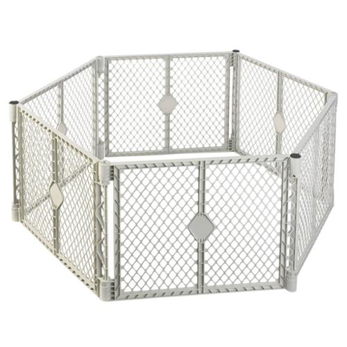 North States SUPERYARD XT Baby and Pet Gate Play Yard, Light Gray