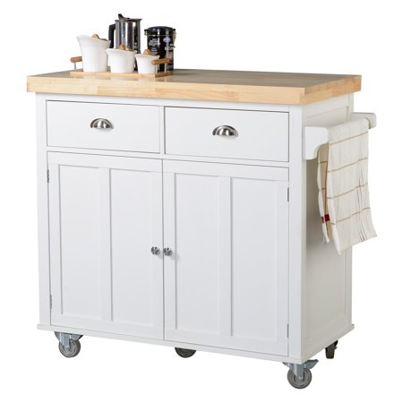 Homestar Kitchen Cart With 2 Doors In White