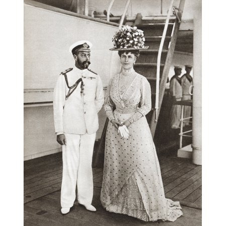 King George V And Queen Mary In 1911 On Board The Medina For Their Visit To India George V George Frederick Ernest Albert 1865 Stretched Canvas - Ken Welsh  Design Pics (13 x (George V King Coin Price In India)