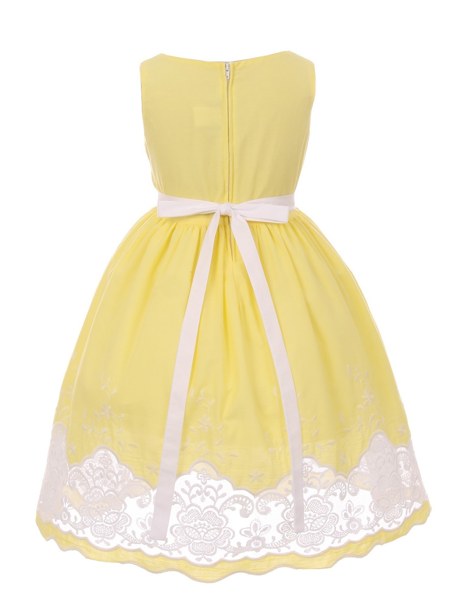 *George* Beautiful Girl/'s Flower Embroidered NEW! Lined Yellow Dress 3T EASTER