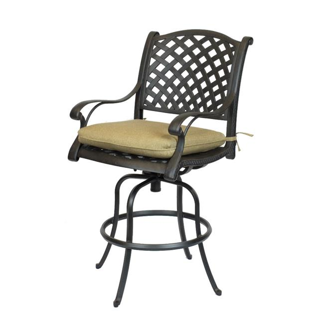 Comfort Care CC03A-SL Cast Aluminum Weave Outdoor Barstool with Sunbrella Sesame Linen Cushion - 50.6 x 24.2 x 27 in. - Set of 2
