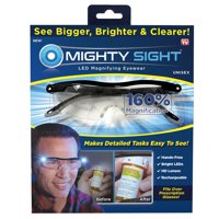 Mighty Sight LED Magnifying Eyewear, Fits Over Prescription Glasses, Read Small Print and Labels, As Seen on TV
