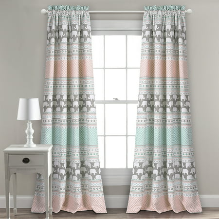 "2pc 52""x84"" Elephant Striped Window Curtain Panels - Lush Décor"