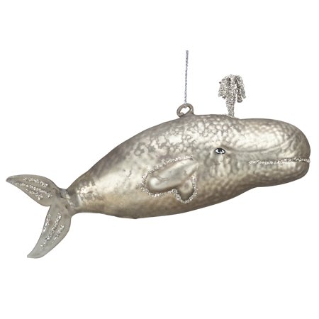 Great Gray Whale Glass Christmas Holiday Ornament