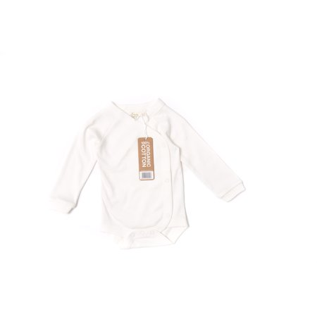 Little Green Radicals Unisex Baby Organic Long Sleeve Kimono Bodysuit, 6-9M (Natural)