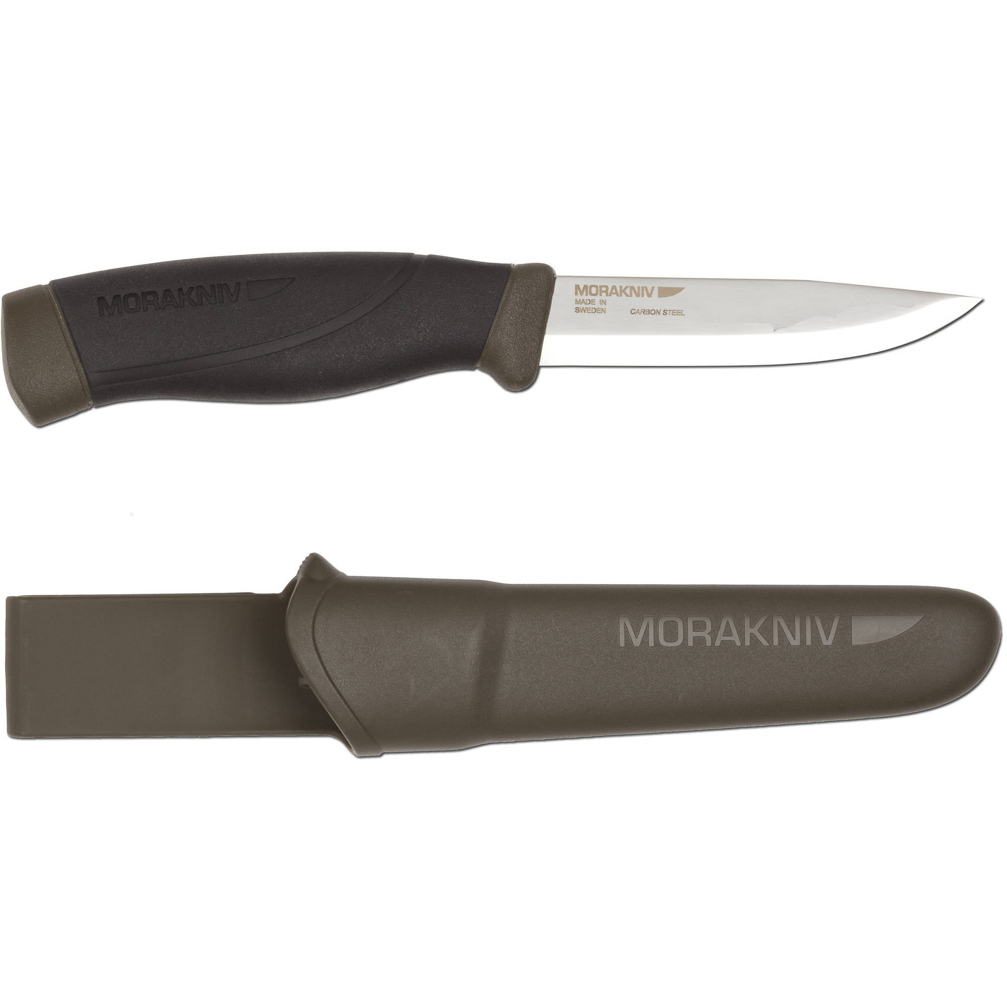 Morakniv Companion Heavy-Duty Fixed Blade Carbon Steel Knife, Military Green by Mora of Sweden