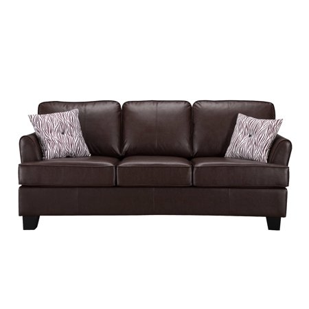Chantal Brown Faux Leather Queen Size Hide A Bed Sofa Sleeper (Solid Wood  Frame)