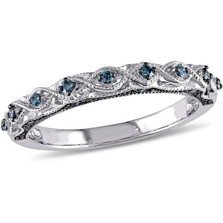 1/6 Carat T.W. Blue Diamond 10kt White Gold Infinity Wedding Band Blue Topaz White Gold Bands