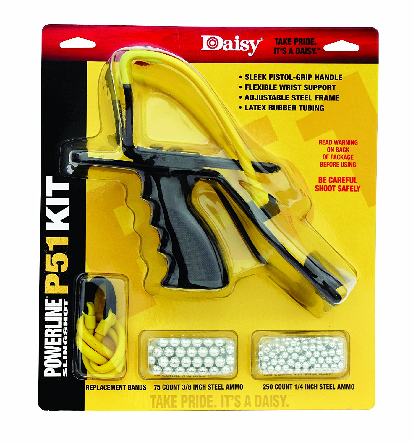 Outdoor Products P51 Slingshot Kit (Yellow Black, 8 Inch), Shoots 1 4 or 3 8 steel and 1 2 glass shot By Daisy by