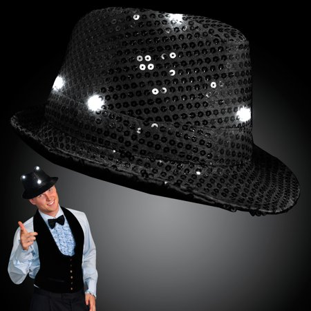 FlashingBlinkyLights Sequin Flashing Fedoras with Blinking LEDs - Sequin Fedora