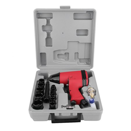 Dioche 17Pcs 1/2  Twin Hammer Air Impact Wrench Gun Set W/ Sockets + US Adapter + Case , Air Impact Wrench, Pneumatic Removal