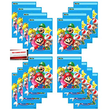 Super Mario Brothers 16 Pack Party Plastic Loot Treat Candy Favor Bags (Plus Party Planning Checklist Mikes Super Store)