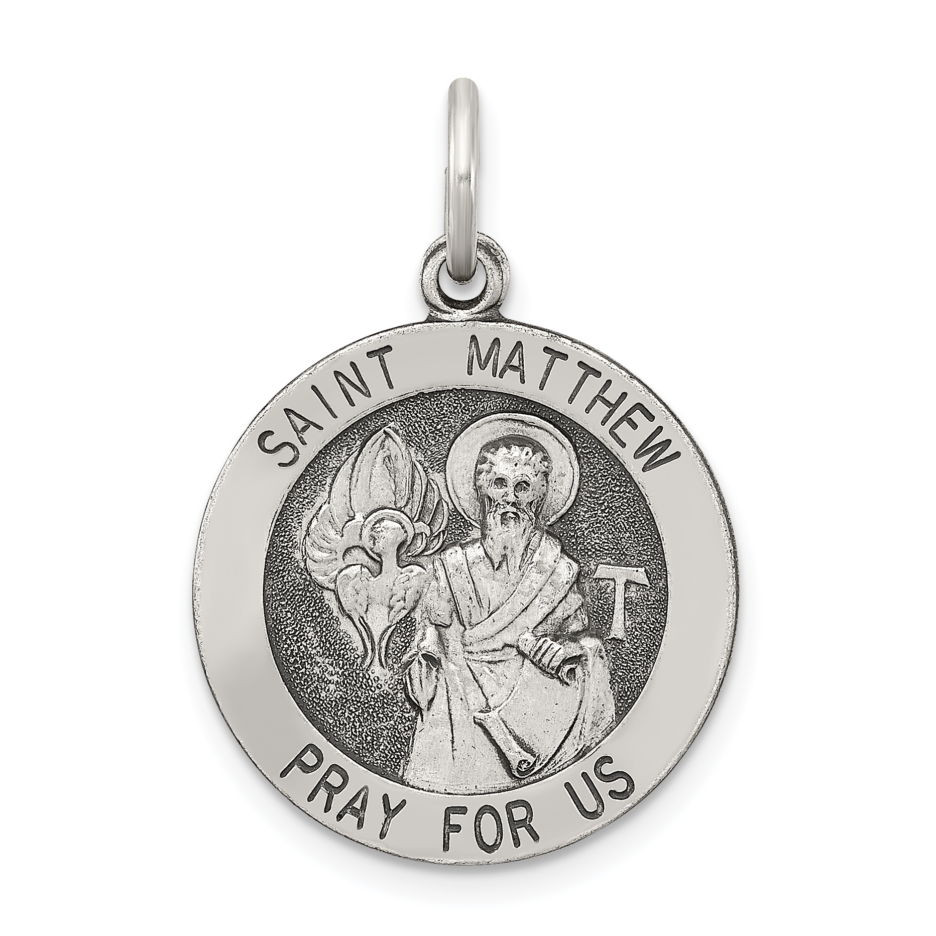 925 Sterling Silver Saint Matthew Medal Pendant Charm Necklace Religious Patron St Fine Jewelry Gifts For Women For Her - image 4 de 4