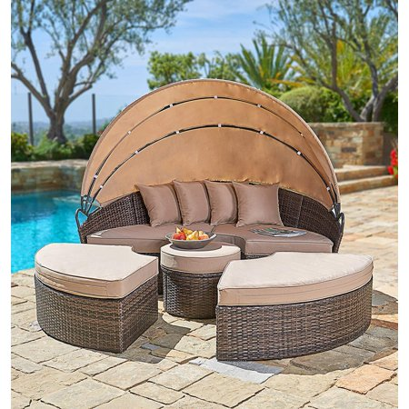 SUNCROWN Outdoor Patio Furniture Brown Wicker Patio Round Daybed with  Retractable Canopy | Clamshell Sectional Seating - SUNCROWN Outdoor Patio Furniture Brown Wicker Patio Round Daybed