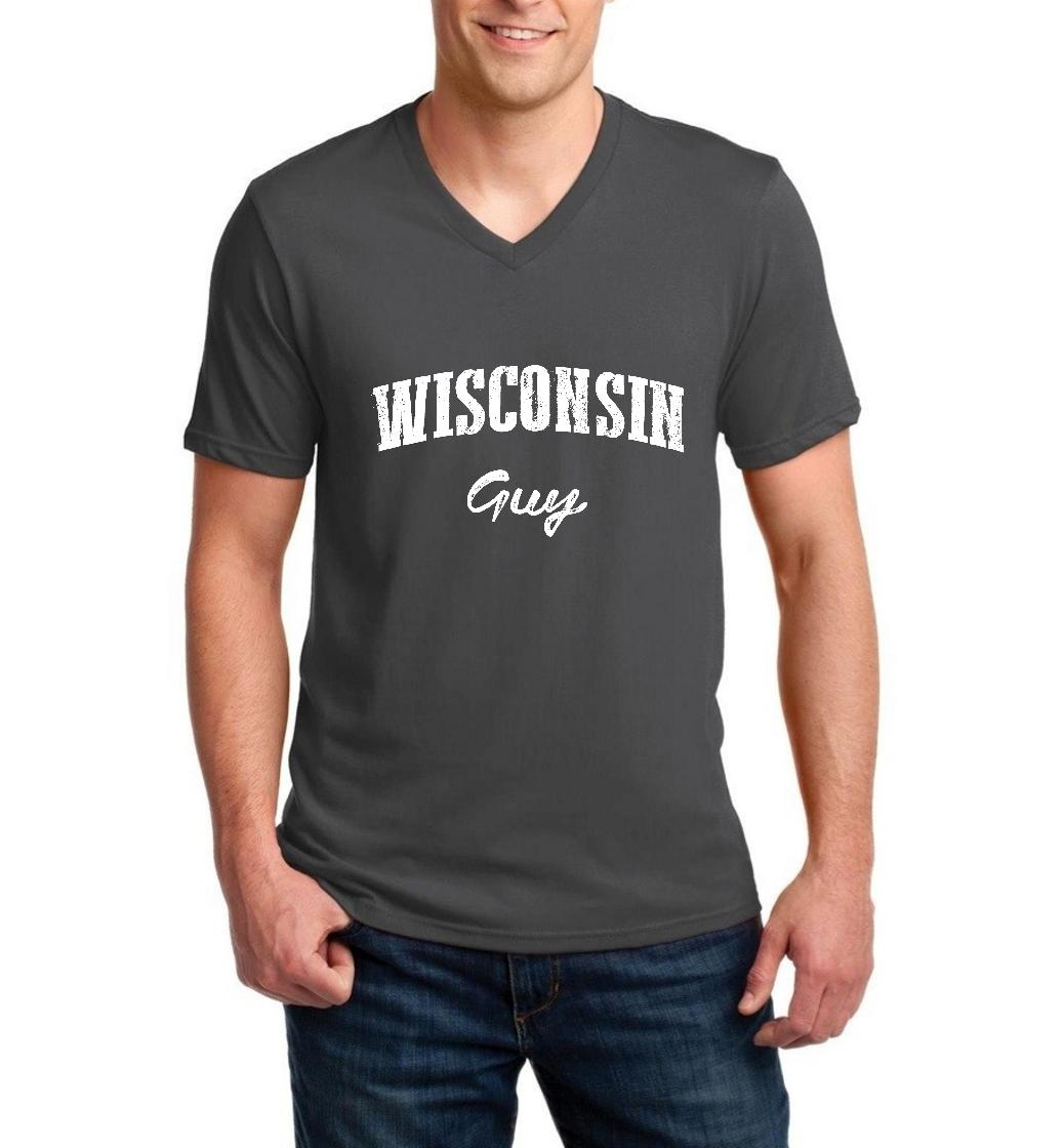 J_H_I WI Guy Milwaukee Map Badgers Panthers Home University of Wisconsin Flag Men V-Neck Shirts Ringspun