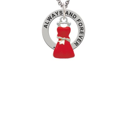 Red Dress Always and Forever Affirmation Ring Necklace (Necklace Dress)