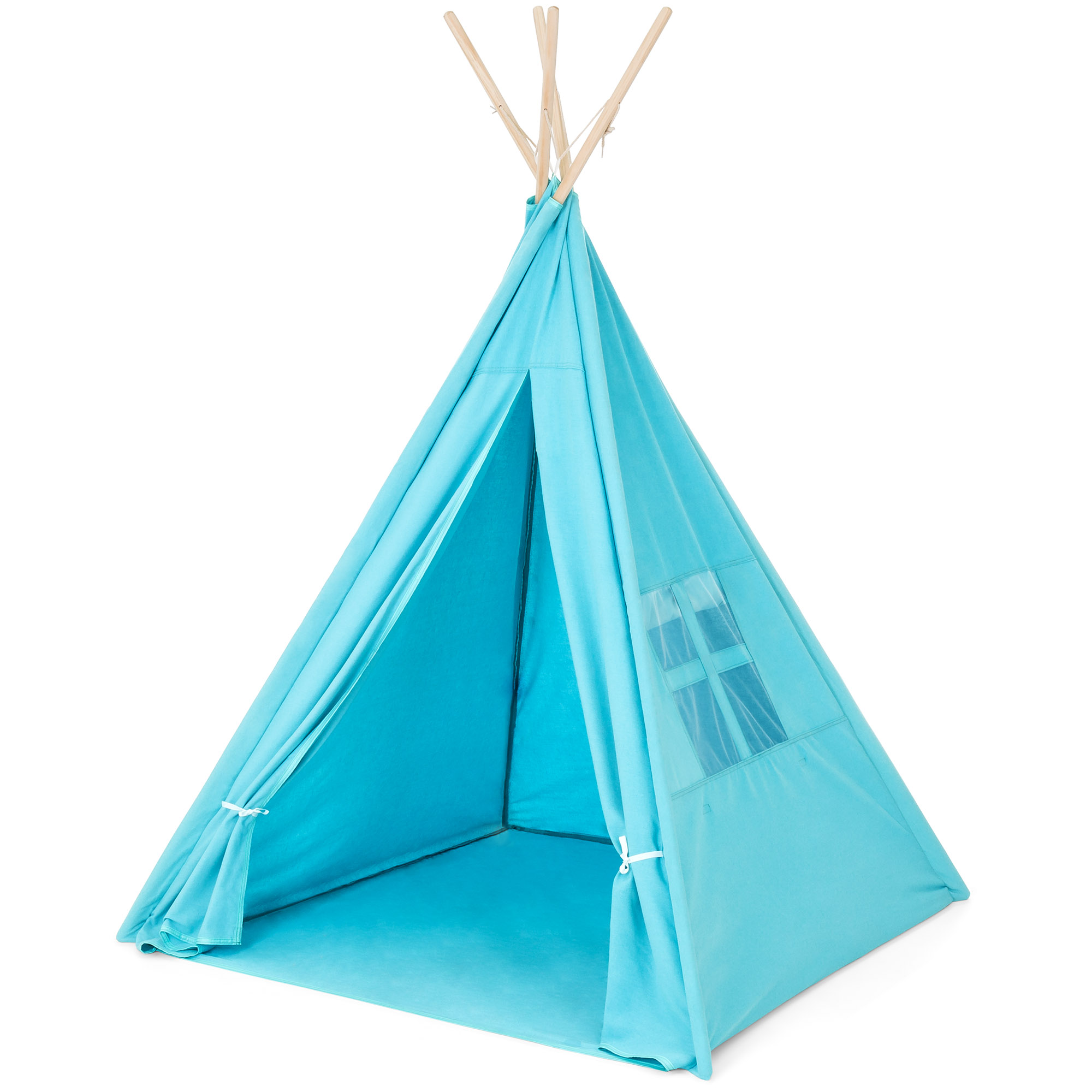 Best Choice Products 6ft Teepee Tent Kids Indian Canvas Playhouse Sleeping Dome w/ Carrying Bag (Blue)