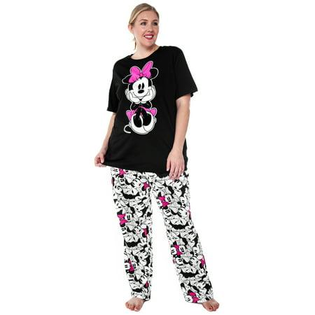 Disney - Women\'s Minnie Mouse 2-Piece Plus Size Pajama Set - Walmart.com