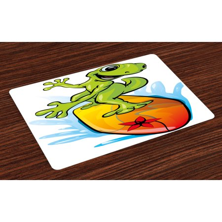 Ride The Wave Placemats Set of 4 A Gecko Surfing with the Water Cute Animal Humor Cartoon, Washable Fabric Place Mats for Dining Room Kitchen Table Decor,Orange Lime Green Sky - Cute Geckos