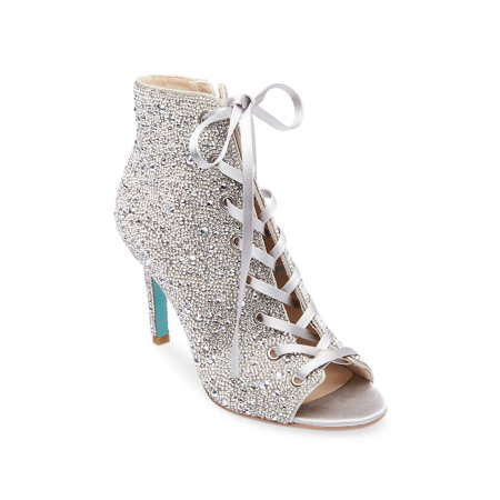 Alexis Embellished Satin Lace-Up Booties