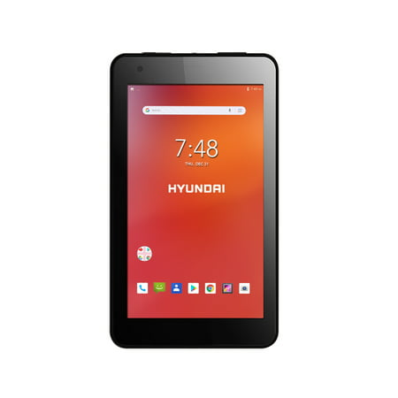 "Hyundai Koral 7W4 7"" Touchscreen Tablet, Quad Core, WiFi, Dual Cameras, Rubber Coating, Android 8.1, Black"