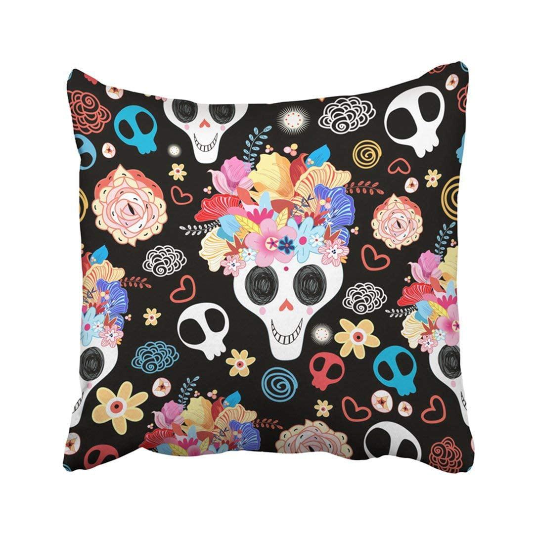 WOPOP Black Abstract The Pattern Of Skulls Beautiful Rose Sugar Bone Cartoon Danger Dark Dead Pillowcase Throw Pillow Cover Case 16x16 inches