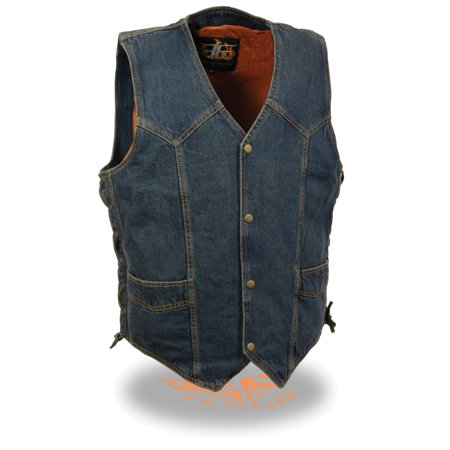 Classic Cowhide Vest - Mens Classic Denim Snap Front Side Lace Vest