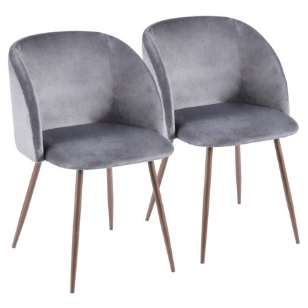 Incredible Fran Contemporary Dining Accent Chair In Walnut With Grey Velvet By Lumisource Set Of 2 Uwap Interior Chair Design Uwaporg