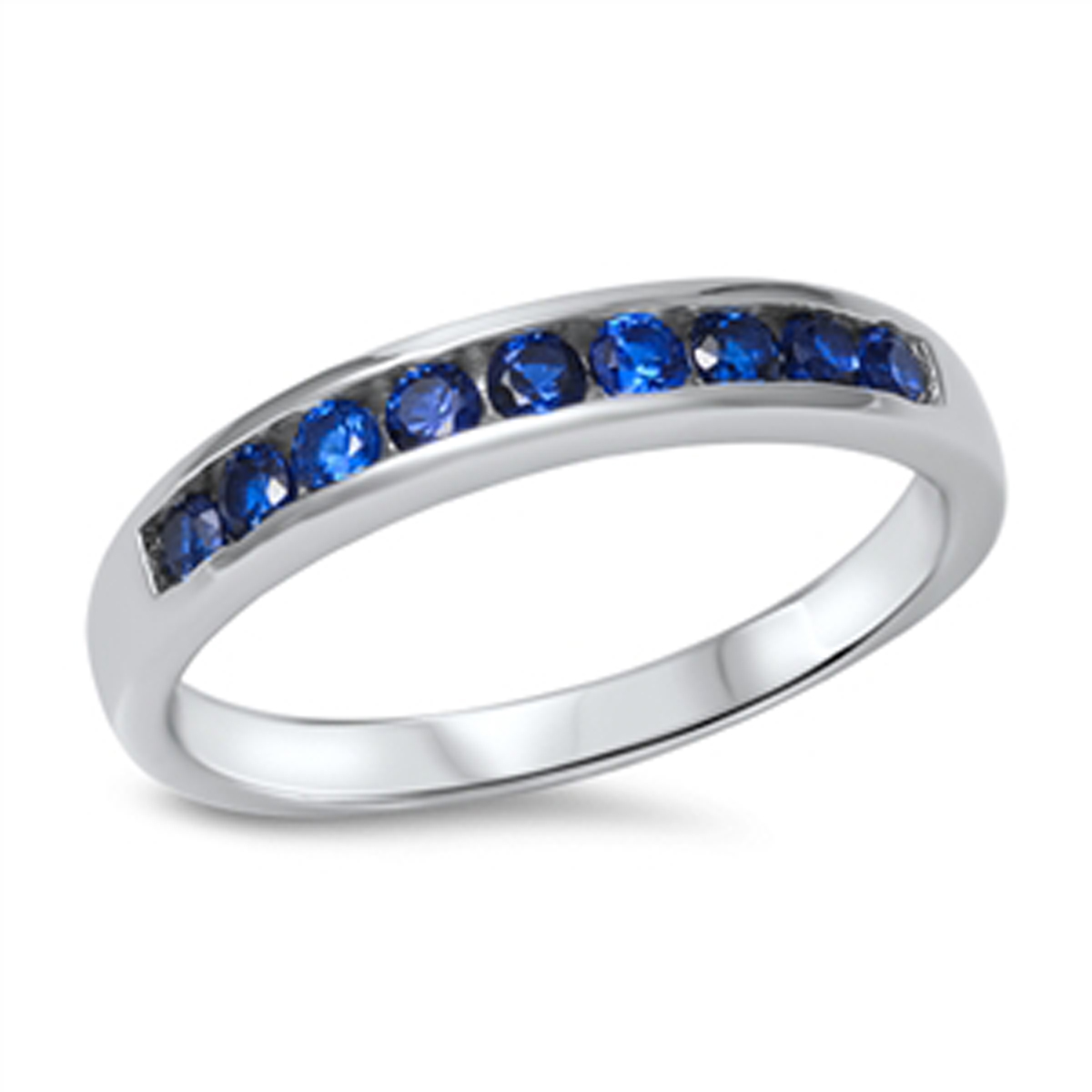 Sterling Silver Elegant Women's Flawless Blue Cubic Zirconia Wedding Ring (Sizes 3-12) (Ring Size 3)