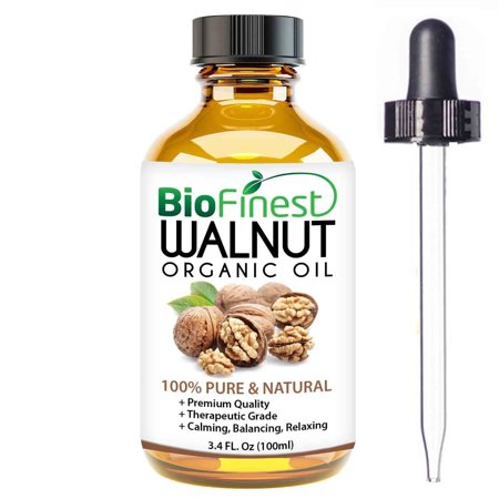 BioFinest Walnut Organic Oil - 100% Pure Cold-Pressed - Best Moisturizer For Hair Growth Scalp Face Skin Wrinkles Scars Eczema - Essential Antioxidant, Vitamin E - FREE E-Book & Dropper