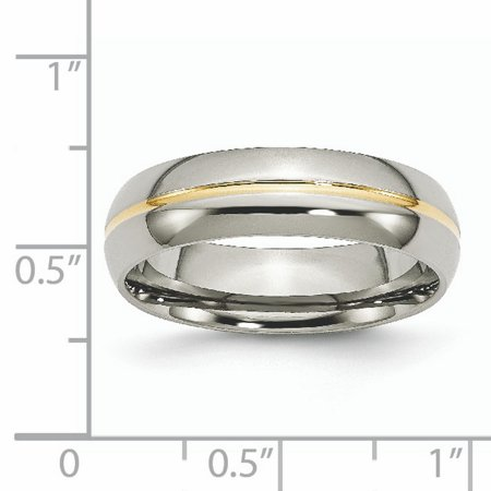 Titanium Yellow Plated Grooved 6mm Wedding Ring Band Size 11.00 Fashion Jewelry Gifts For Women For Her - image 9 de 10