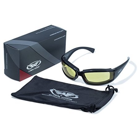 Series Casual Eyewear (Global Vision Eyewear 24 Stray Cat Series with Gloss Black Frames and Yellow Tint Anti-Fog Photochromic)