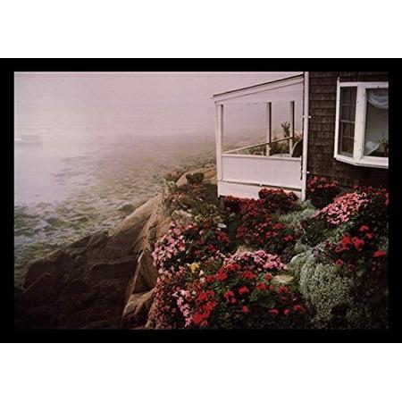 - buyartforless FRAMED Rockport Garden by Andrew Borsari 18x12 Art Print Poster Photograph Beautiful Coastal Beach House with Floral Garden Rocky Cliff Foggy Ocean View